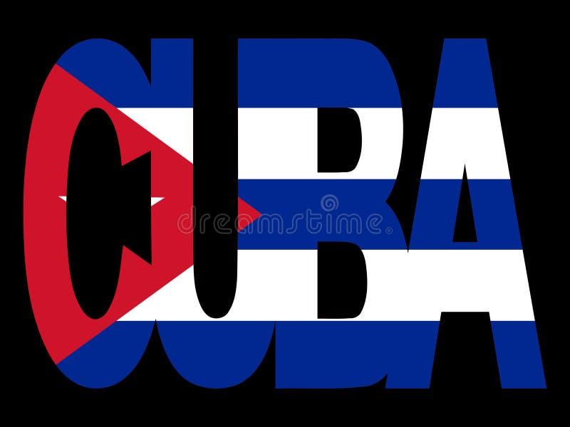 De tekst van Cuba met vlag stock illustratie