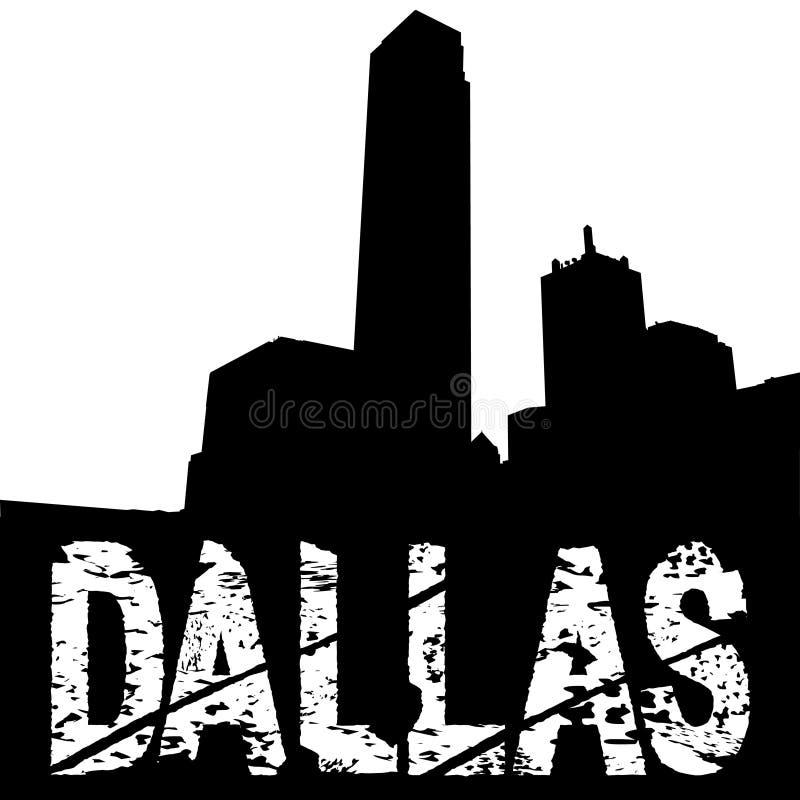 De tekst van Dallas grunge met horizon royalty-vrije illustratie