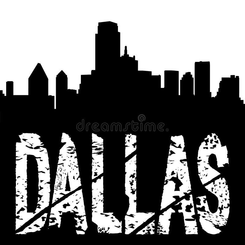 De tekst van Dallas met horizon vector illustratie