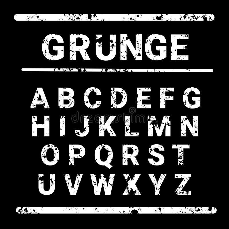 De Tekst van de de Brieveninzameling van alfabetgrunge het Van letters voorzien Reeks stock illustratie