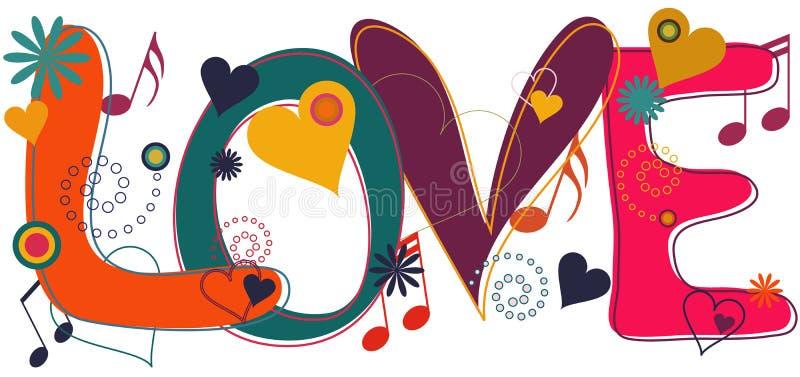 De Tekst van de liefde in Hippie Brights stock illustratie