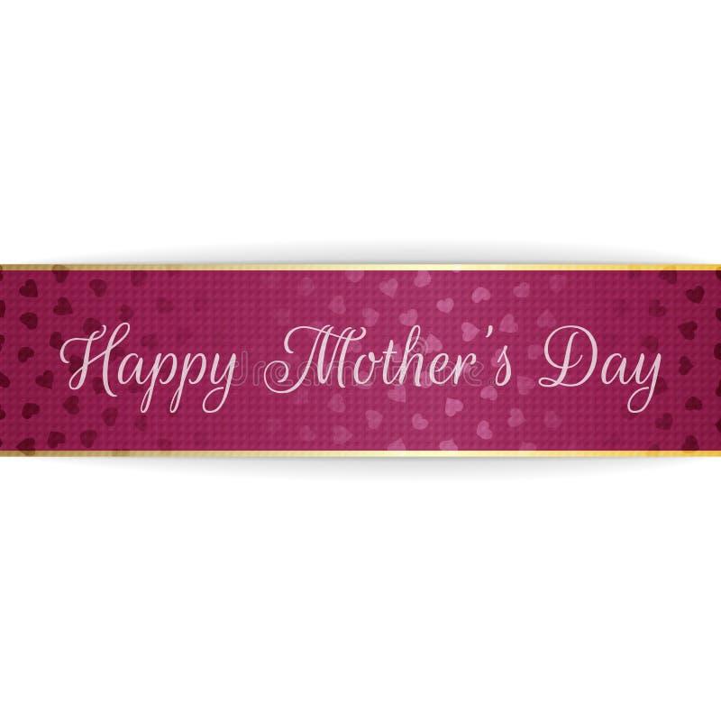 De Tekst van de moedersdag bij het begroeten van purpere Banner vector illustratie