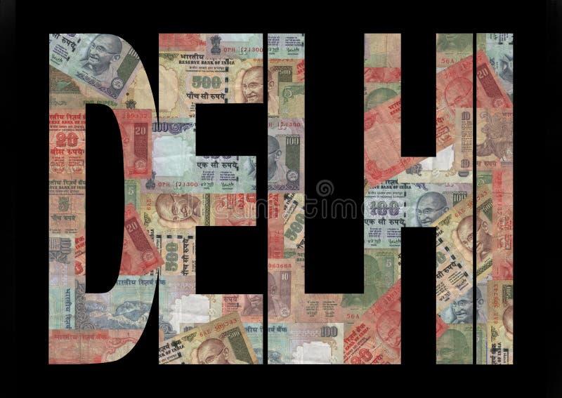 De Tekst van Delhi met Roepies royalty-vrije illustratie