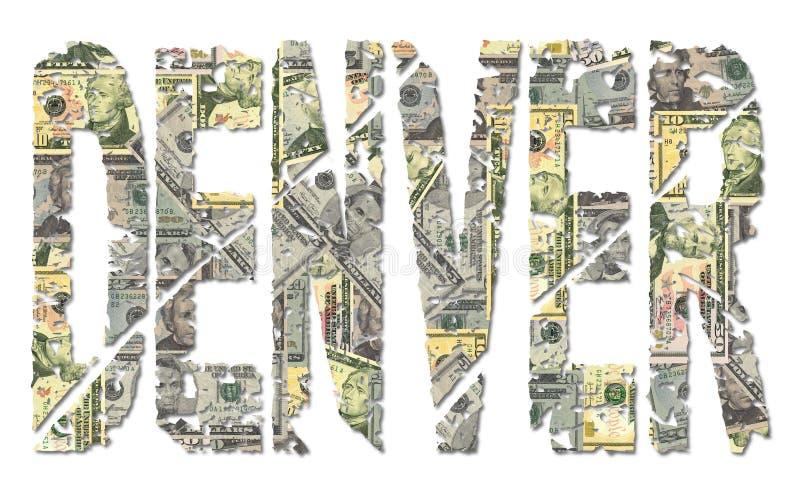 De tekst van Denver grunge met dollars vector illustratie