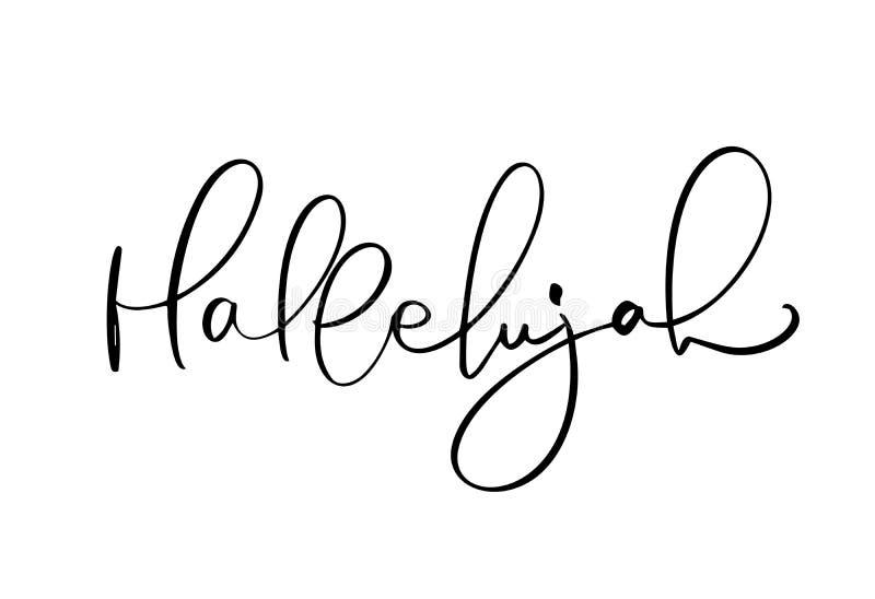 De tekst van de hallelujakalligrafie Christelijke die uitdrukking op witte achtergrond wordt geïsoleerd Hand getrokken uitstekend stock illustratie