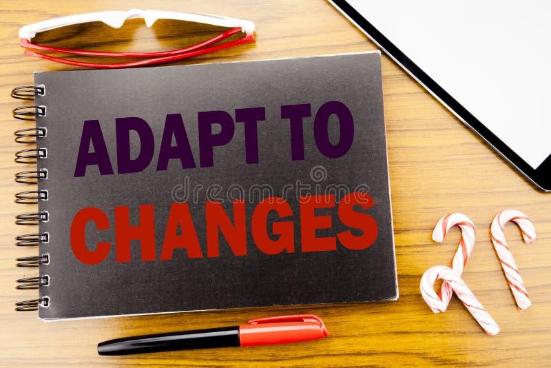 De tekst van de handschriftaankondiging past aan Veranderingen aan Bedrijfsconcept voor Aanpassings Nieuwe die Toekomst op het bo royalty-vrije stock fotografie