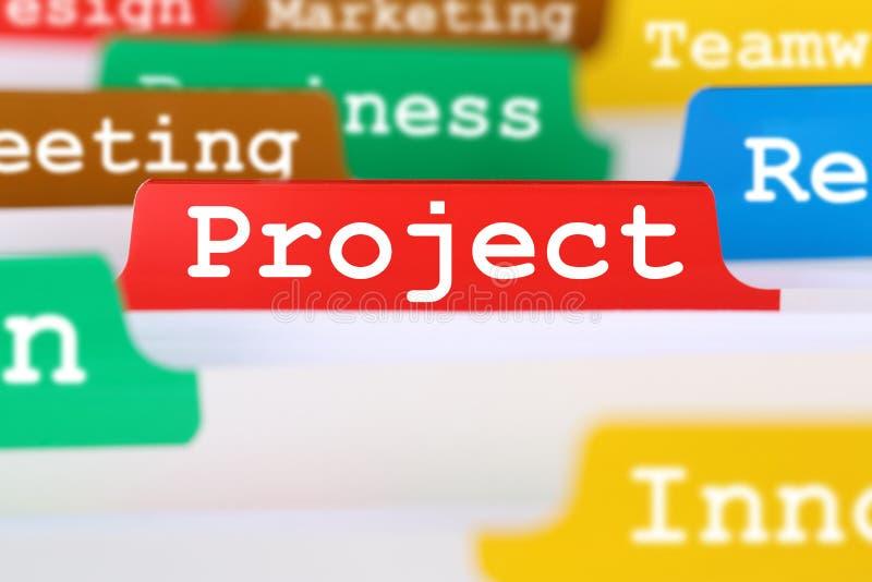 De tekst van het de organisatiebureau van het projectconcept op register in zaken royalty-vrije stock foto's