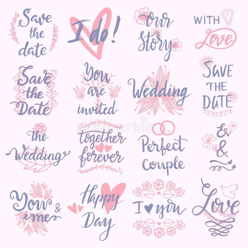 De tekst van het huwelijksuitdrukkingen van de huwelijksdag het van letters voorzien van de de groetliefde van de uitnodigingskal royalty-vrije illustratie