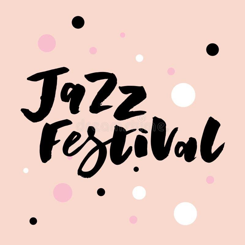 De tekst van het jazzfestival het van letters voorzien kalligrafiekleur stock foto