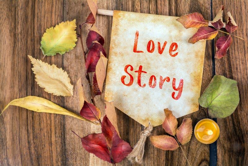 De tekst van het liefdeverhaal met de herfstthema stock afbeelding