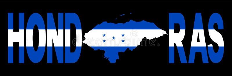 De tekst van Honduras met kaart stock illustratie
