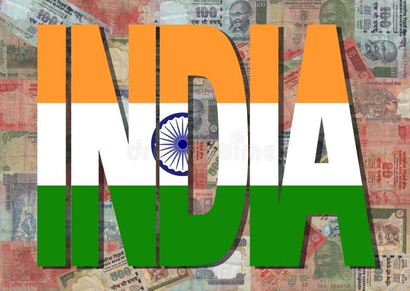 De tekst van India met Indische Roepies vector illustratie