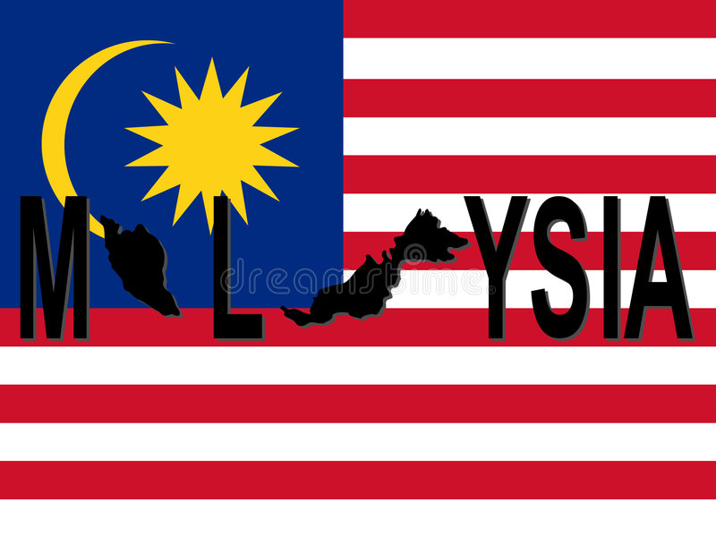De tekst van Maleisië met kaart royalty-vrije illustratie