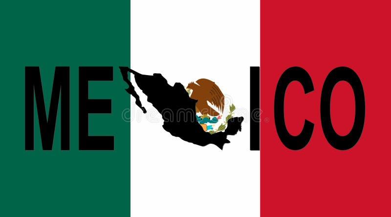 De tekst van Mexico met kaart royalty-vrije illustratie