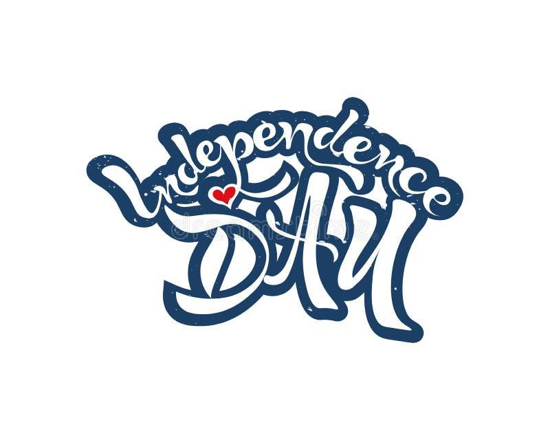 De tekst van de onafhankelijkheidsdag het van letters voorzien vakantie stock foto's