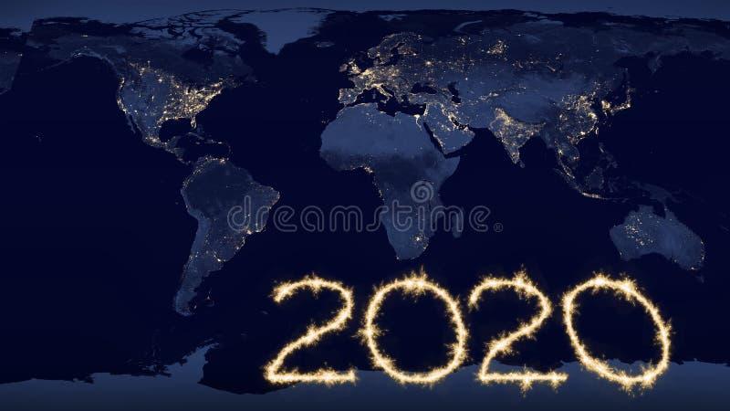 de tekst van 2020 op wereldkaart bij nacht royalty-vrije stock afbeelding