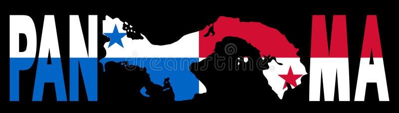 De tekst van Panama met kaart en vlag vector illustratie