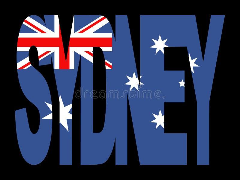 De tekst van Sydney met vlag