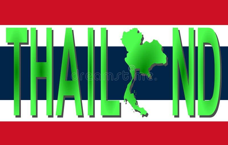 De Tekst van Thailand met Kaart vector illustratie