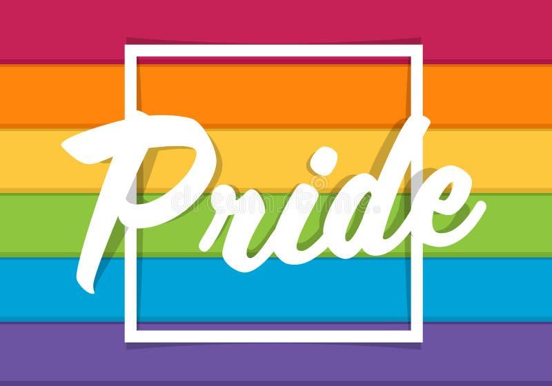 De tekst van de trotstypografie op vierkant kader en kleurrijk regenboog vectorontwerp als achtergrond stock afbeelding