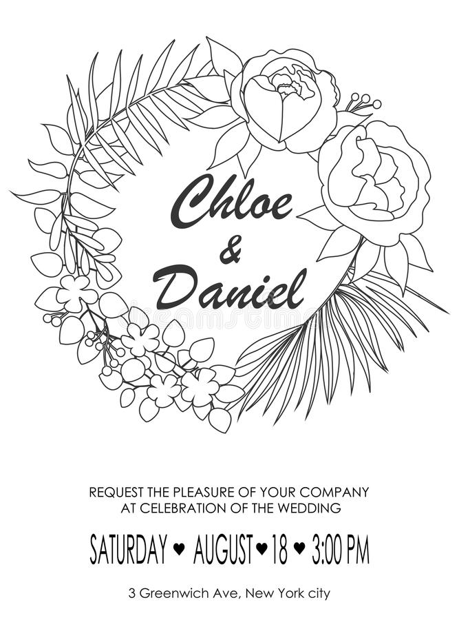 De tekstachtergrond met bloemenpioenen en Jasmijn, takken o royalty-vrije illustratie