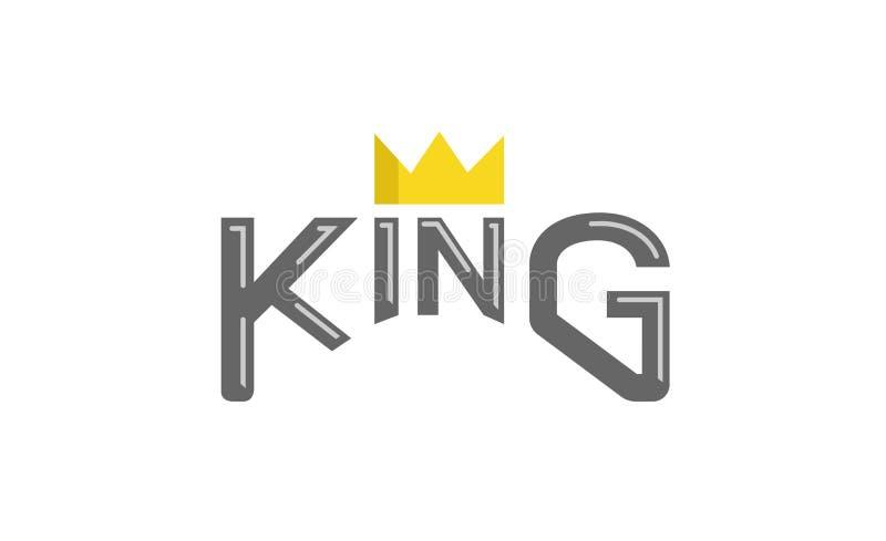 De Tekstembleem van koningstypography gold crown stock illustratie