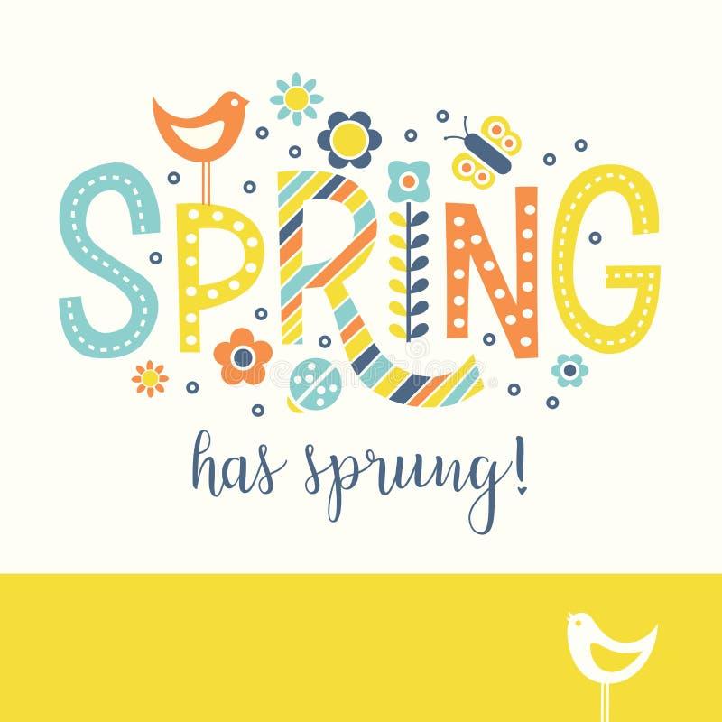 De tekstontwerp van de de lentekrabbel met vogels, bloemen en punten stock illustratie