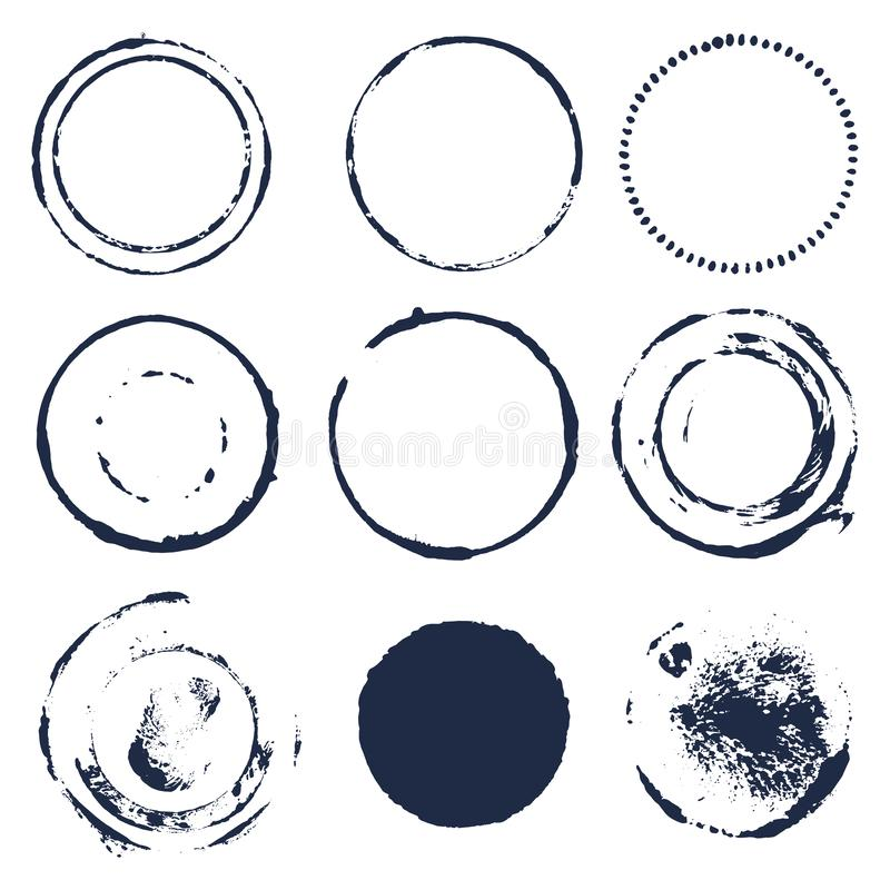 De tekstvakjes van borstelslagen Het ontwerpelementen van Grunge Ronde geplaatste kaders Vuile textuurbanners De inkt ploetert Ge royalty-vrije illustratie