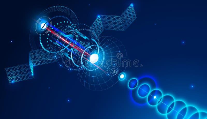 De telecommunicatiesatelliet van ruimte verzendt een digitaal signaal via satellietschotel Conceptuele abstracte achtergrond vector illustratie