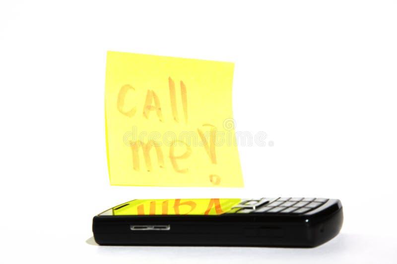 De telefoon en de inschrijving roepen me royalty-vrije stock foto