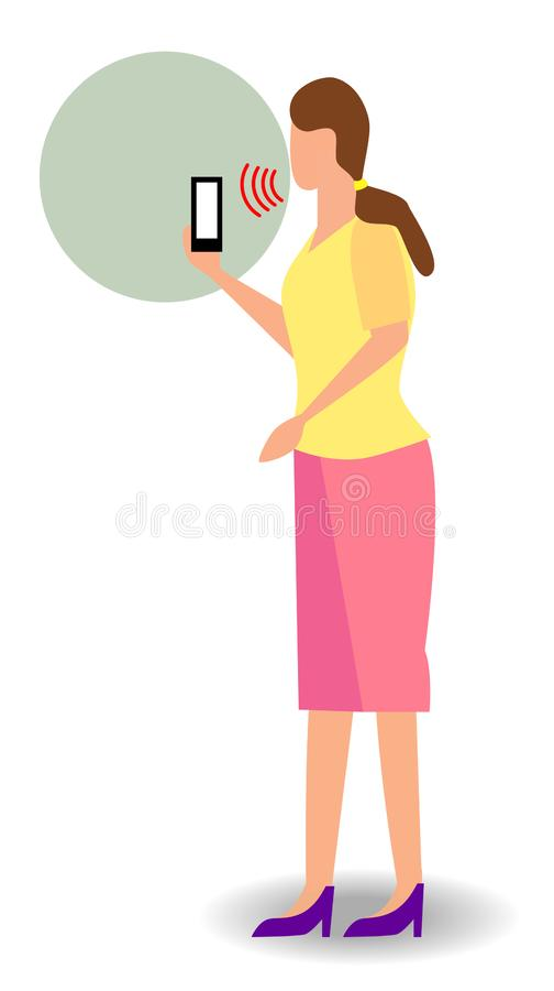 De telefoon intelligente stem van de vrouwengreep het persoonlijke hulpconcept van de erkennings soundwaves technologie, kunstmat stock foto