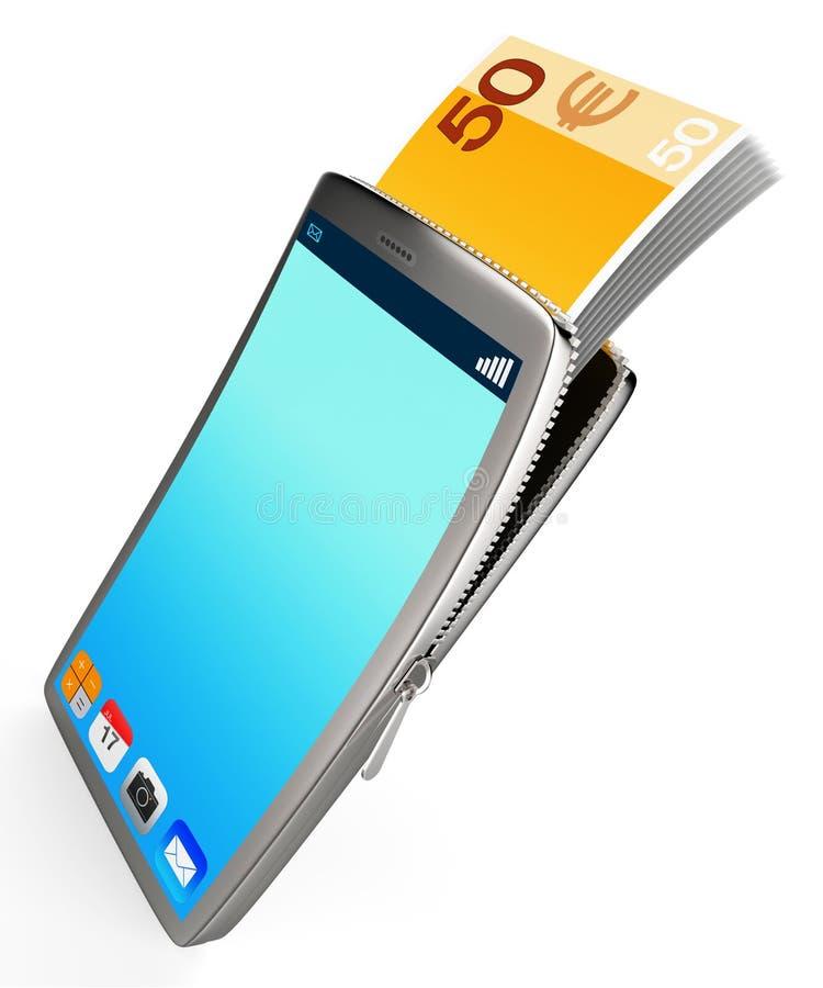 De telefoon met Copyspace vertegenwoordigt online Contant geld en Bankwezen vector illustratie