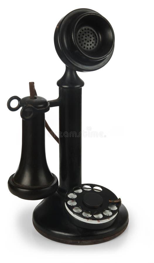 De telefoon van de kandelaar op wit stock foto's