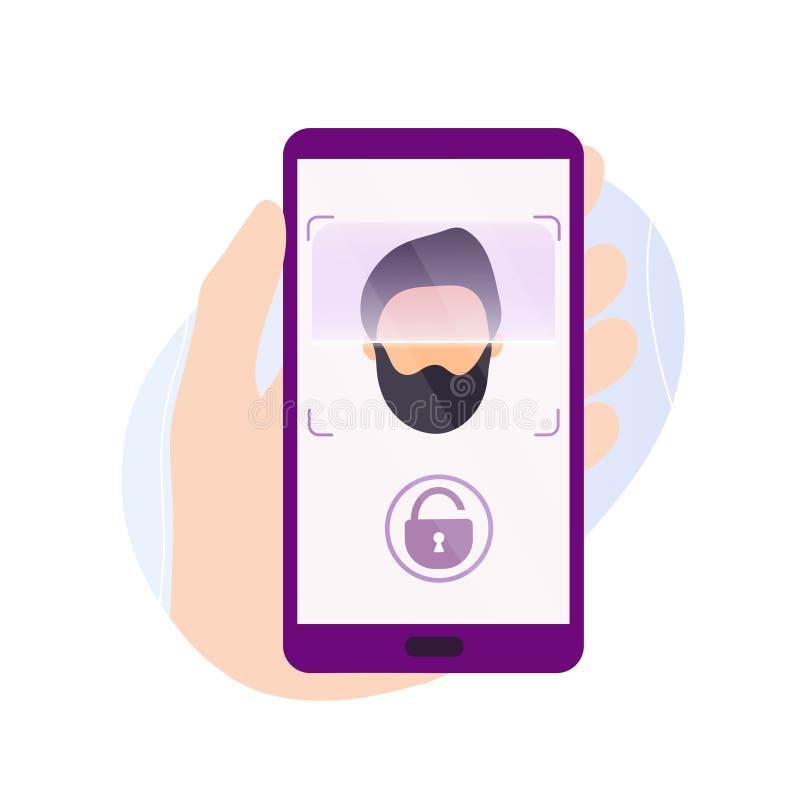 De telefoon van de handholding met aftasten app op het scherm royalty-vrije illustratie