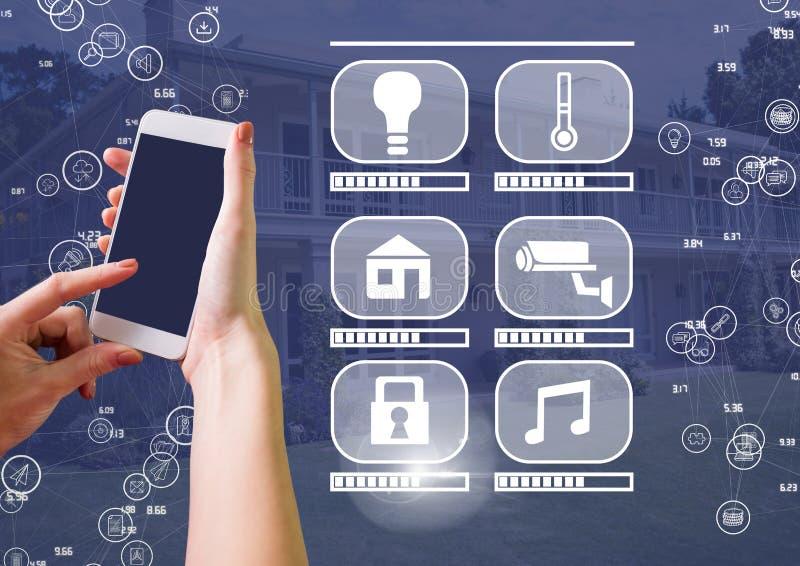 De telefoon van de handholding met slimme huisinterface en schakelaars vector illustratie
