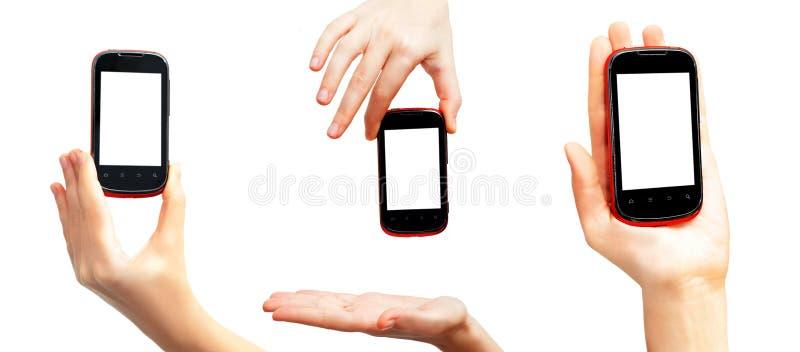 De telefoon van het aanrakingsscherm op vertoning stock afbeeldingen