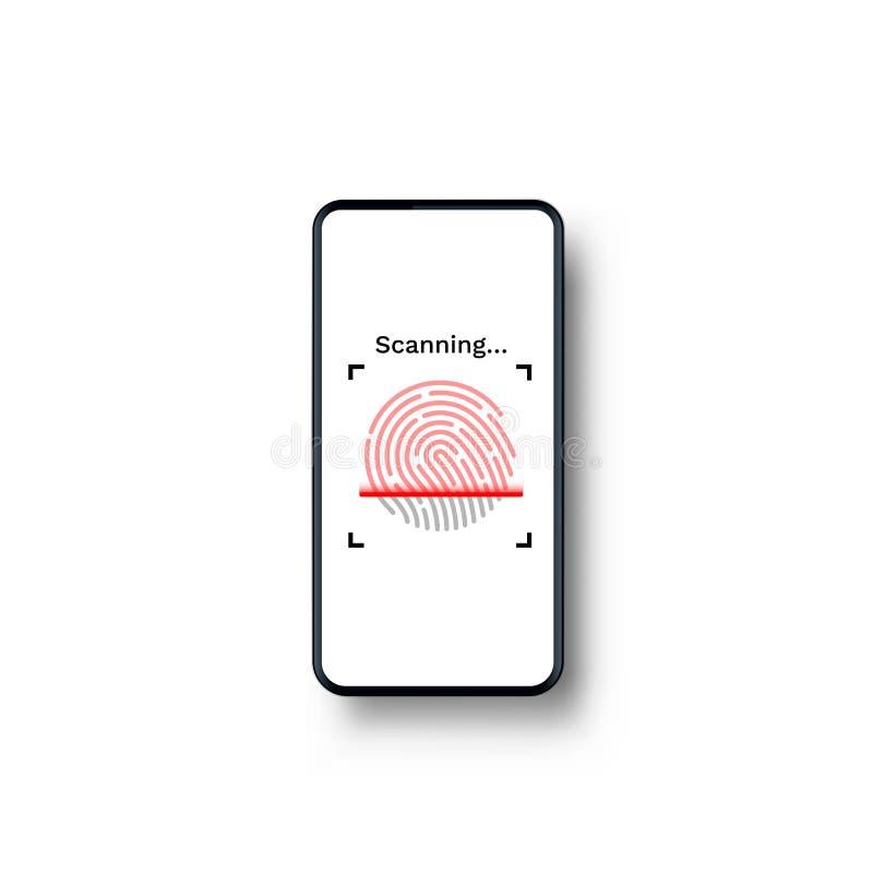 De telefoon van identiteitskaart van de wachtwoordaanraking op de witte achtergrond vector illustratie