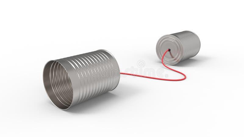 De telefoon van tinblikken op witte achtergrond wordt geïsoleerd die het 3D illustreren stock illustratie
