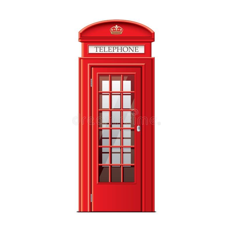 De telefooncel van Londen op witte vector wordt geïsoleerd die stock illustratie