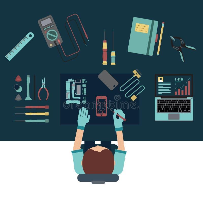 De telefoondienst en van het reparatiecentrum concepten Hoogste mening Vlak Ontwerp vector illustratie