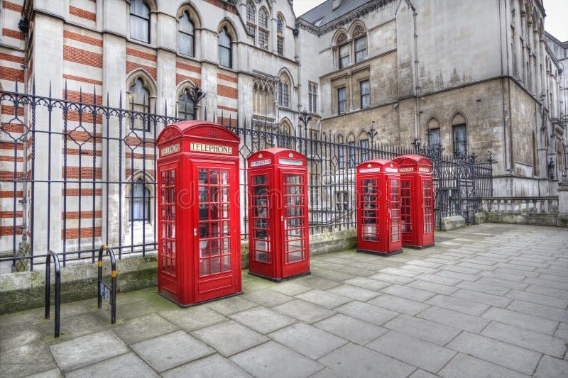 De Telefoondozen van Londen stock afbeelding