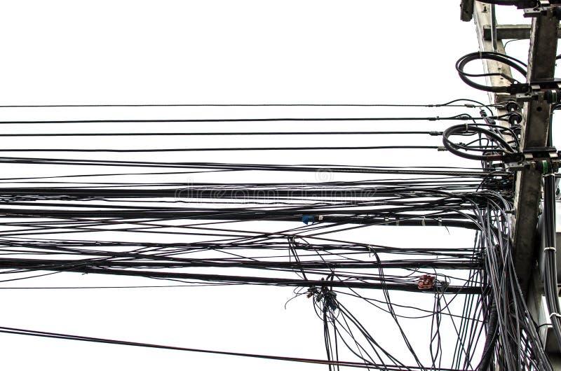 De telefoondraad van de elektriciteitskabel en vezel optische draad stock afbeelding