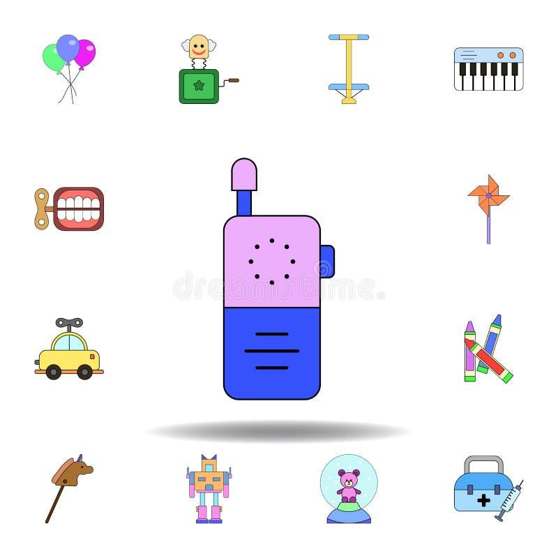 De telefoonstuk speelgoed gekleurd pictogram van de beeldverhaalbaby reeks de illustratiepictogrammen van het kinderenspeelgoed d royalty-vrije illustratie
