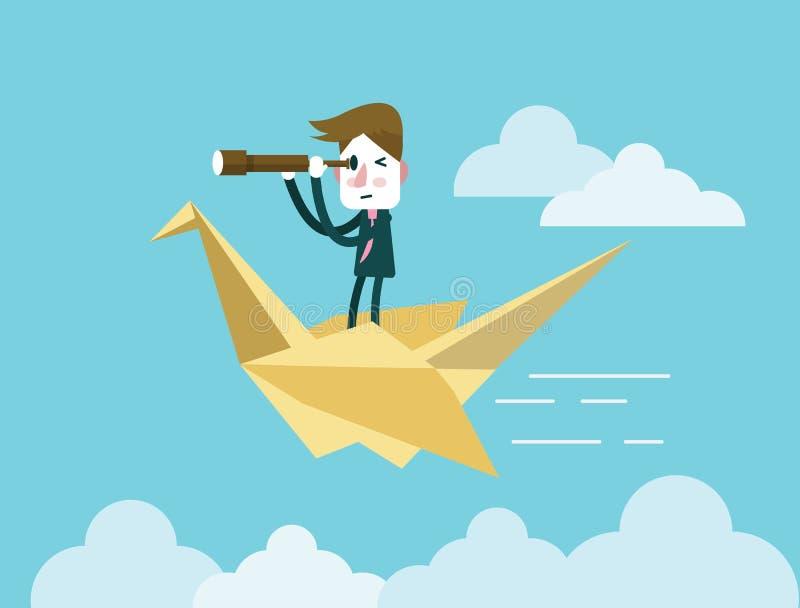 De telescoop van de zakenmanholding en het berijden op origamivogel vector illustratie