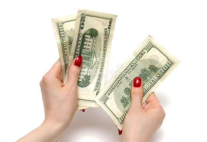 De tellende dollars van de vrouw stock foto