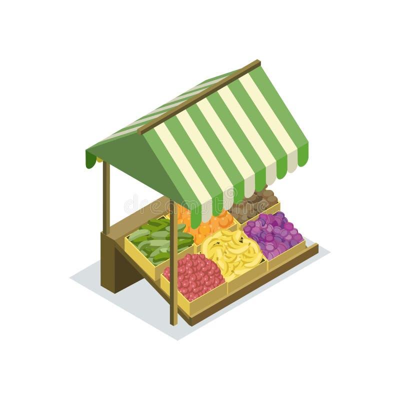 De teller van het marktvoedsel met luifel isometrisch pictogram royalty-vrije illustratie