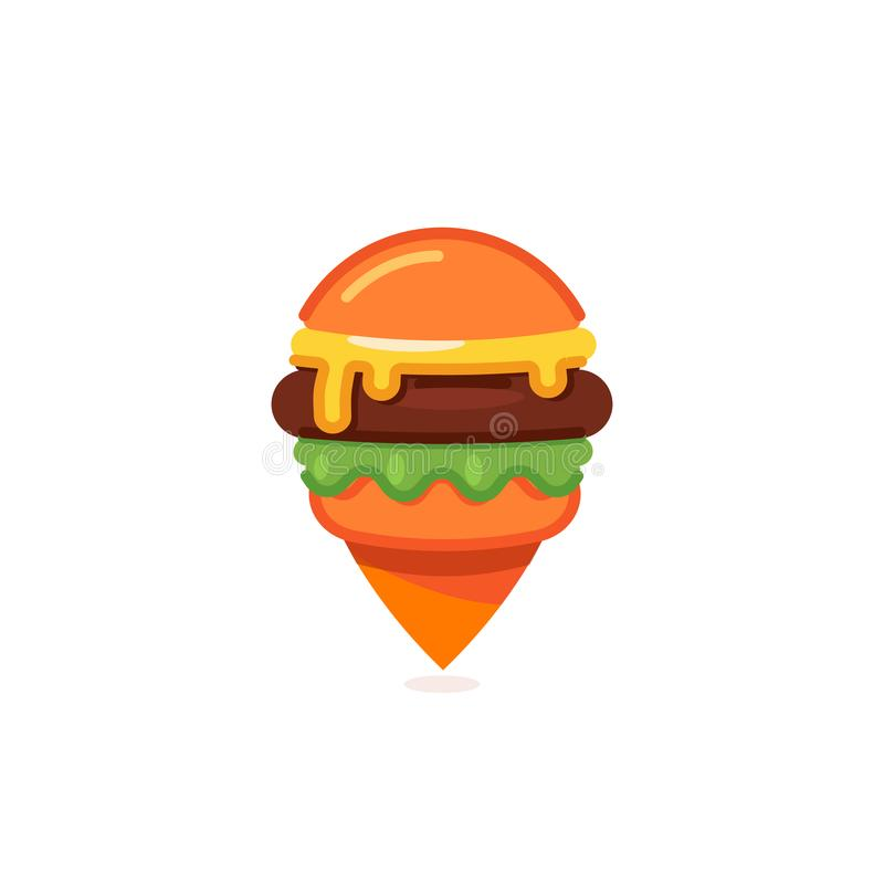 De tellerspictogram van de snel voedselkaart, het malplaatje van het de speldembleem van het hamburgerrestaurant, cheeseburger ve royalty-vrije illustratie