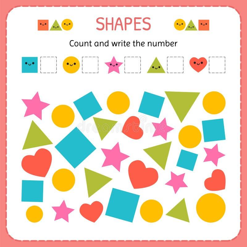 De telling en schrijft het aantal Leer vormen en geometrische cijfers Kleuterschool of kleuterschoolaantekenvel vector illustratie