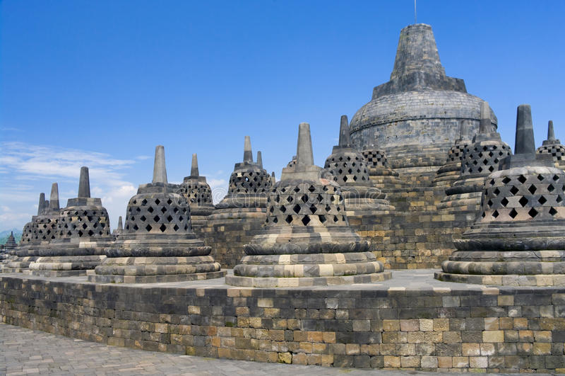 De tempel Borobudur van Buddist stock afbeeldingen