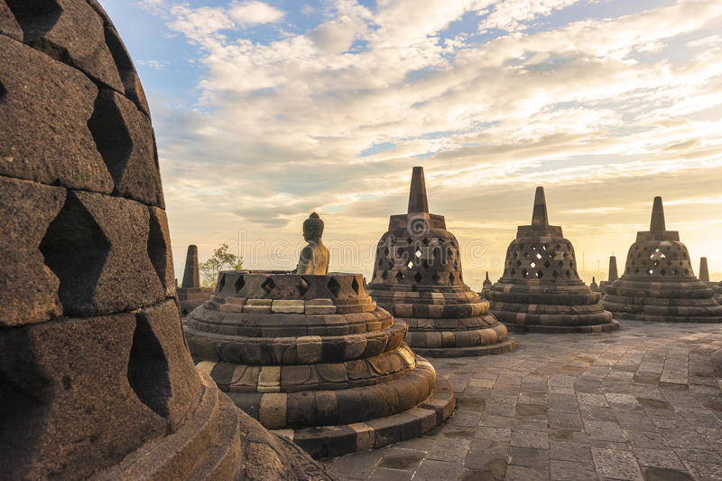 De tempel Borobudur van Buddist Yogyakarta stock fotografie